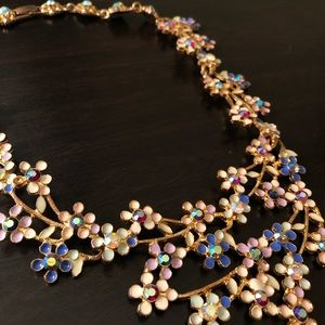 Floral Gem Statement Necklace - Rose Gold